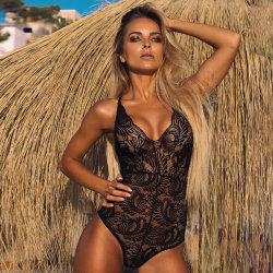 Lenceria Sexy señoras malla cosido Lace Deep V See-Through Bodysuit