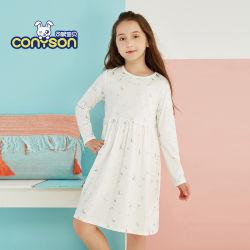 La moda de estilo europeo Wholeesale Boutique de tejidos de algodón estampados florales nuevas niñas Niños Kids Vestido de manga larga