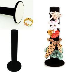 Organizador de jóias de veludo preto do cilindro braceletes Exibir