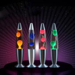 Tavolo Lava lampada nuovo Rocket bottiglia di vetro colorato glitter rotondo Base Rainbow Aluminium Body decorare Lava Night lampada da tavolo LED
