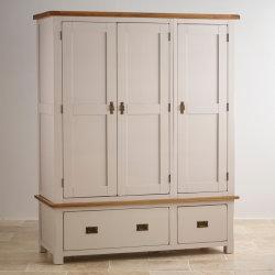 Peint en blanc chambre moderne en bois massif de chêne 3 portes avec tiroirs grande penderie armoire