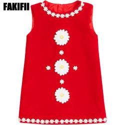 高品質ODMの幼児摩耗によって編まれる衣服の女の子の赤い花によってアップリケをつけられる毛織の服の子供の方法衣服