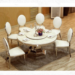 Nouveau modèle pour l'hôtel verre miroir de mariage de table à manger avec chaises Set