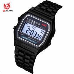 Edelstahl-Legierungs-Armbanduhren für Mann-Digital-elektronische Uhr #V512