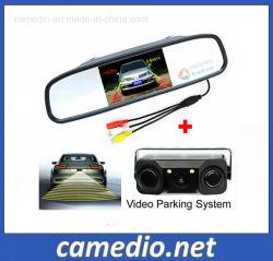 3 En1 Capteur de stationnement Radar vidéo avec caméra Vue arrière+4.3Rétroviseur LCD