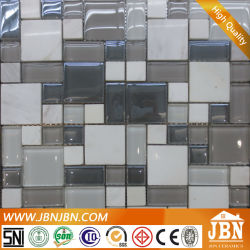 Jazz White Stone Marble and Glass Mosaic for Bal발코니(M855078)