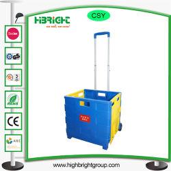 Carrello pieghevole di plastica dei bagagli del carrello di acquisto della casella di rotolamento