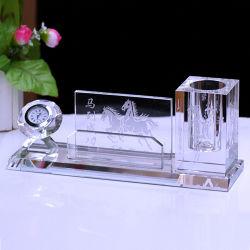 Escritório Crystal único detentor de canetas, porta-canetas Relógio de cristal