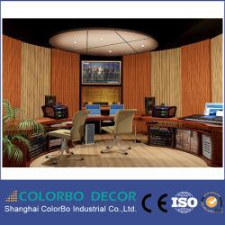 غرفة التسجيل ديكور الجدار الداخلى شرائط خشبية عازلة للصوت
