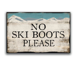 Schäbige schicke Winter-Schnee-Geschäfts-Zeichen-Ski-Geschenk-Hütte kennzeichnet schäbiges schickes Andenken-Geschenk