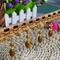 Commerce de gros perlé Polyester Tassel franges décoratives pour rideaux