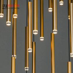Hotel moderno Simplism Galería de varilla de aluminio Comedor araña de luces decorativas