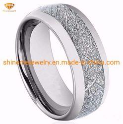 De natuurlijke Ingelegde Zilveren Ring Tst2857 van de Juwelen van het Wolfram van de Vezel van de Koolstof