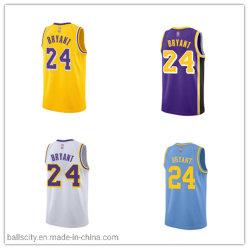 La sublimazione all'ingrosso ha stampato l'usura di sport del pullover di pallacanestro cucita Kobe dei Lakers 24