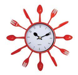 """10"""" Round Red Kitchen 시리즈 스푼 포크 나이프 플라스틱 쿼츠 벽 시계"""