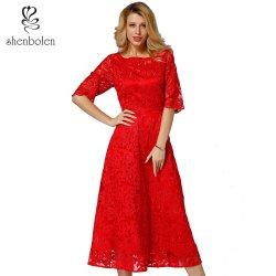 Maxi de manga corta y elegante mujer elegante vestido de encaje
