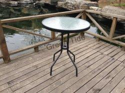 Hot Sale jardin extérieur acier moderne en verre Paitio Round Table de pique-nique pour le camping
