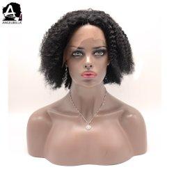 Angelbella curto de cabelo humano Rendas Perucas Afro Kinky Estilos Encaracolado Peruca Frontal