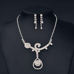 Элегантный Crystal устраивающих наборов ювелирных изделий серебристый цвет свадебное ожерелье наборы серьги