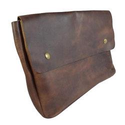 Vintage couro genuíno arquivo da pasta caso