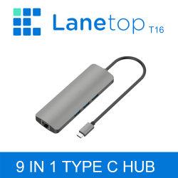 가스레인지 Thunderbolt 3 도크 USB 허브 C 유형 - USB3.0 MacBook Samsung DEX S8/S9 Huawei P20 PRO용 RJ45 어댑터 USB C 어댑터