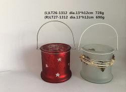 Machine Gemaakt Glas Tealight/de Houder van de Kaars met het Handvat van de Draad