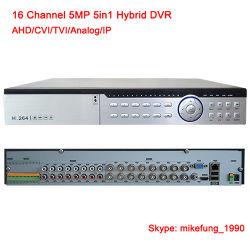 H. 265 16CH gravador DVR híbrido de 5 MP 5 em 1 Ahd Cvi Tvi câmera de segurança IP analógica
