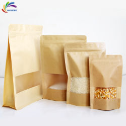 Zak van de Verpakking van het Voedsel van de Snacks van het Document van Kraftpapier van de Druk van de douane de Plastic met Venster