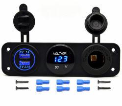 3배 기능 USB 충전기 파란 전압계 12V 출구 소켓 위원회