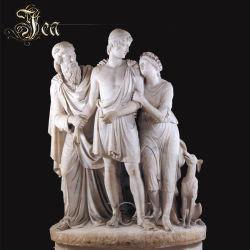 Statue de marbre grec trois hommes avec un chien de la Sculpture