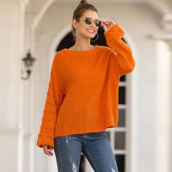 Fashion élégant pullover col rond pour les femmes lâche gros pull-over de balle surdimensionnée
