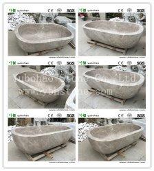 Lado moderno esculpido autoportante/Pedestal de granito Chuveiro/pedra mármore Banheira de banho de banheira de hidromassagem escura