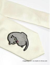 Gato barato de seda marfil bordado diseño interesante estilo elegante corbata de moda