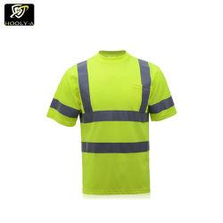 Excelente calidad de diseño más reciente de Ropa reflectante de seguridad de malla 100% poliéster Camiseta Ropa de trabajo con fluoresceína Camisetas uniformes
