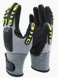 Custom de protección de los yacimientos de petróleo gas aceite eléctrica impacto mecánico de mano de obra Antivibración guantes resistentes a cortes TPR Guantes de impacto