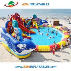Novo Design Água Inflatabel Parque Desportivo parque aquático com deslize para exterior