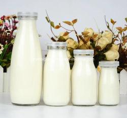 Frasco de vidro de leite por grosso de pudim e iogurte com tampa de plástico 100/200/250/500ml