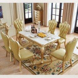 De facultatieve Marmeren Eettafel van de Kleur met de Houten het Dineren Stoelen van de Bank