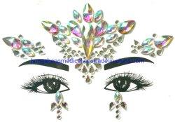 Les cristaux du corps de bijoux personnalisés Rhinestone larmes face autocollant Glitter