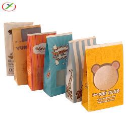 Impressão personalizada de fábrica OEM Grau Alimentício Saco de papel Kraft com retenção de estanho e janela