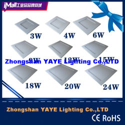 Горячий Yaye продавать 3W/4W/6W/9W/12W/15W18W/20W/24 Вт квадратные светильники акцентного освещения светодиодные лампы панели / светодиодные лампы панели с гарантией 2 и 3 лет