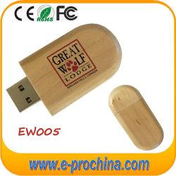 Diseño de Logotipo personalizado bolígrafo de madera el disco USB Flash Drive (EW005)