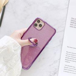 Het mobiele Geval van de Telefoon schittert het ZijGeval van iPhone van de Diamant TPU Galvaniserend Beschermende Dekking Samsung Hua Wei met Toebehoren van de Telefoon van de Houder van de Steun van de Ring de Mobiele
