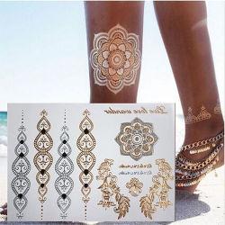 Venda a quente metal prateado ouro descartáveis tatuagem Flash temporária