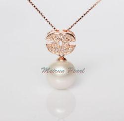 925 de 11mm Plata colgante de perlas de agua dulce natural