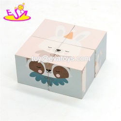 Новый дизайн 4 штуки из светлого дерева Cube блок Головоломки для детей W14f056