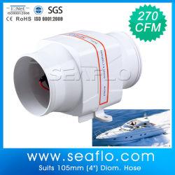 Barca nella riga motore del ventilatore di scarico per ventilazione della sentina dello scompartimento di motore