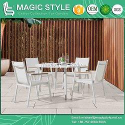 Chaise de salle à manger de textile de plein air avec jardin de l'accoudoir en bois aluminium Poly de table à manger élingue Café président ensemble à dîner en aluminium avec revêtement en poudre les meubles de patio
