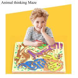 As crianças dos desenhos animados de madeira cordões de caneta Magnética Maze via de administração educacional do jogo puzzle Toy