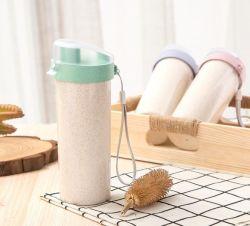 학교 아이 여행 옥외 야영 밀 섬유 컵 창조적인 두 배 플라스틱 컵 휴대용 손 컵